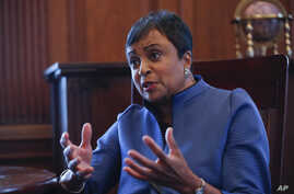 The 14th Librarian of Congress, Carla Hayden, during her interview with the Associated Press after a ceremony at the Library of Congress, where she took the oath of office, Sept. 14, 2016.