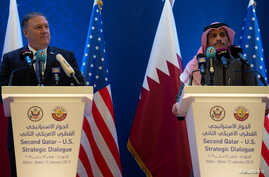 US Secretary of State Mike Pompeo (L) and Qatari Deputy Prime Minister and Minister of Foreign Affairs Sheikh Mohammed bin Abdulrahman Al-Thani, hold a joint press conference at the Sheraton Grand in the Qatari capital Doha, Qatar, Jan. 13, 2019.