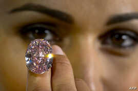 A model shows during a press preview on September 25, 2013 a 59.6-carat pink diamond that will be auctioned by Sotheby's in the Swiss city of Geneva in November at a record asking price of $60 million (49 million euros).