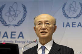 FILE - Director General of the International Atomic Energy Agency, IAEA, Yukiya Amano of Japan, addresses the media during a news conference in Vienna, Austria, Nov. 22, 2018.
