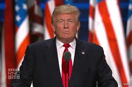 Donald Trump formally accepts his party's nomination at the Republican Convention in Cleveland, Ohio, July 21, 2016.