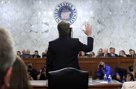 Supreme Court nominee Brett Kavanaugh is sworn in before the Senate Judiciary Committee on Capitol Hill in Washington, Sept. 4, 2018, to begin his testimony in his confirmation hearing to replace retired Justice Anthony Kennedy.