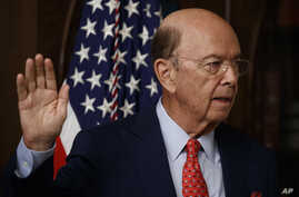 Wilbur Ross is sworn-in as Commerce Secretary in the Eisenhower Executive Office Building in Washington, Feb. 28, 2017.