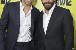 """Ryan Reynolds and Jake Gyllenhaal at Columbia Pictures World Premiere of """"Life"""" the movie at SXSW 2017, March 18, 2017, in Austin, Texas."""