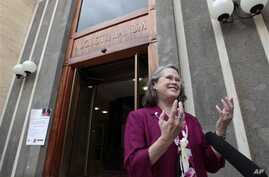 Karen King, a professor at Harvard Divinity School, is interviewed outside the Augustinianum institute where an international congress on Coptic studies is held in Rome, Wednesday, Sept. 19, 2012.