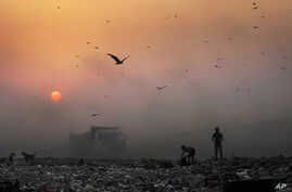 FILE- A thick blanket of smoke is seen against the setting sun as young ragpickers search for reusable material at a garbage dump in New Delhi, India, Oct. 17, 2014.