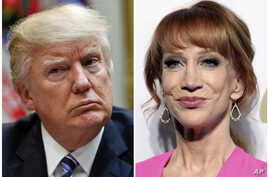 In this combination photo, President Donald Trump appears in the White House in Washington on  March 13, 2017, left, and comedian Kathy Griffin appears at the Clive Davis and The Recording Academy Pre-Grammy Gala in Beverly Hills, Calif.