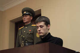 Matthew Miller, a U.S. citizen, sits on the dock at the Supreme Court during his trial in Pyongyang, North Korea, Sept. 14, 2014.