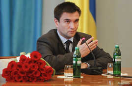 FILE - Ukraine's Foreign Minister Pavlo Klimkin is seen following his appointment at the Ministry of Foreign Affairs in Kyiv June 19, 2014.