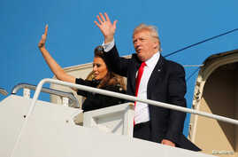 President Donald Trump and first lady Melania Trump wave outside Air Force One before returning to Washington D.C. at Sigonella Air Force Base in Sigonella, Sicily, Italy, May 27, 2017.