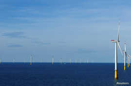 FILE - A general view of the DanTysk wind farm, 90 kilometres west of Esbjerg, Denmark, Sept. 21, 2016.