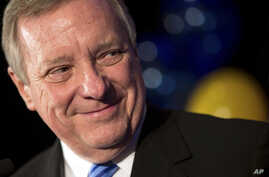 Democratic U.S. Sen. Dick Durbin delivers his victory speech at his election night event on Nov. 4, 2014, in Chicago. Durbin declared victory over challenger Republican State Sen. Jim Oberweis.