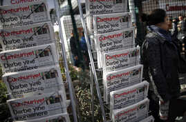 A newspaper stand with the copies of Cumhuriyet near its headquarters in Istanbul, Oct. 31, 2016.
