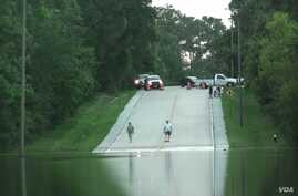 A number of streets in the Houston, Texas, area have been closed by flooding, including Flintridge Street in The Woodlands, just north of Houston, May 28, 2016.