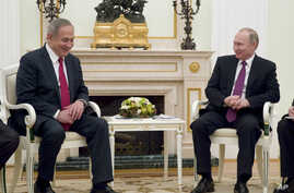 Russian President Vladimir Putin, right, meets with Israeli Prime Minister Benjamin Netanyahu in Moscow, Russia, March 9, 2017.