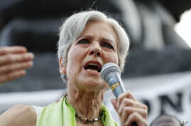 Dr. Jill Stein, presumptive Green Party presidential nominee, speaks at a rally in Philadelphia, July 27, 2016, during the third day of the Democratic National Convention.