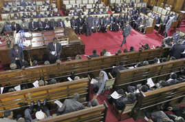 A general view shows members of parliament on March 06, 2008 at the parliament in Nairobi during the opening of the second session of 10th parliament
