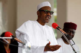 FILE - Nigerian President Muhammadu Buhari speaks at the presidential villa in Abuja, Nigeria, May 14, 2016.