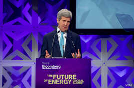 U.S. Secretary of State John Kerry delivers the keynote address at the Bloomberg New Energy Finance Energy Summit in New York City, April 5, 2016.