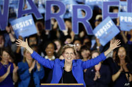 FILE - Sen. Elizabeth Warren, a Democrat from Massachusetts, gives her victory speech at a Democratic election watch party in Boston, Massachusetts, Nov. 6, 2018.