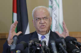 Palestinian Saeb Erekat, a veteran peace negotiator, speaks during a news conference in the West Bank city of Ramallah, Sept. 11, 2018.