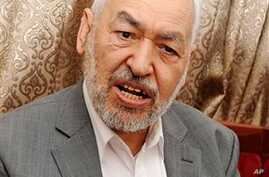 Tunisian Islamist party leader Rachid Ghanouchi, reacts during an interview with The Associated Press in El Menzah, Tunisia, January 30, 2011.