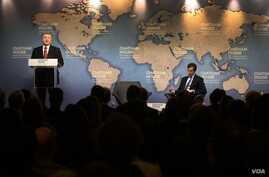 Ukrainian President Petro Poroshenko speaks before an audience at policy institute Chatham House, in London, April 19, 2017. (Source - president.gov.ua)