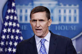 FILE - National Security Adviser Michael Flynn speaks during the daily news briefing at the White House, in Washington, Feb. 1, 2017.