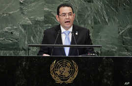 Guatemala's President Jimmy Morales addresses the 73rd session of the United Nations General Assembly, Sept. 25, 2018, at the United Nations headquarters.