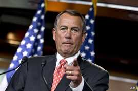 House Speaker John Boehner of Ohio gestures as he speaks to reporters after private talks with Treasury Secretary Timothy Geithner about the fiscal cliff negotiations, on Capitol Hill in Washington, November 29, 2012.