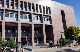 The courthouse in Gaziantep, southern Turkey, where Australian jihadist Neil Prakash, detained by Turkey last year on charges of joining the Islamic State extremist group in Syria, was on trial, Sept. 28, 2018, on charges of membership of the organiz