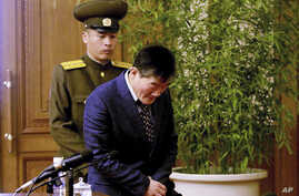 Kim Tong Chol, a U.S. citizen detained in North Korea, is presented to reporters in Pyongyang, North Korea on Friday, March 25, 2016.