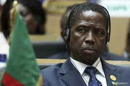 FILE - Zambia President Edgar Lungu attends the opening ceremony of the 24th Ordinary session of the Assembly of Heads of State and Government of the African Union (AU) at the African Union headquarters in Ethiopia's capital Addis Ababa, Jan. 30, 201