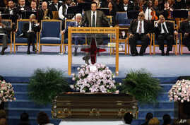 Smokey Robinson speaks during the funeral service for Aretha Franklin at Greater Grace Temple, Aug. 31, 2018, in Detroit.