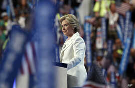 Democratic presidential nominee Hillary Clinton speaks during the final day of the Democratic National Convention in Philadelphia, July 28, 2016.