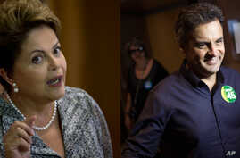 Brazil's President Dilma Rousseff, presidential candidate for re-election,  in Rio de Janeiro, Brazil, Oct. 23, 2014. On right, Aecio Neves, presidential candidate with the Brazilian Social Democracy Party, arrives for a press conference in Rio de Ja