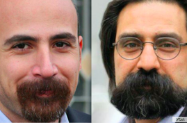 Majzooban Noor, an Iranian news outlet covering Iran's Gonabadi Dervish religious minority, says two of its editors, Reza Entesari, right, and Mostafa Abdi, left, have received lengthy prison terms for involvement in February anti-government protests