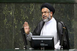 Iranian Intelligence Minister Mahmoud Alavi answers questions from lawmakers in an open session of parliament in Tehran, Iran, Oct. 25, 2016.