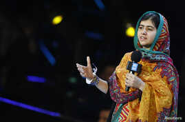 Malala Yousafzai speaks at the WE Day UK event at Wembley Arena in London, March 7, 2014.