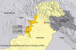 North and South Waziristan, part of the Federally Administered Trial Area (FATA)