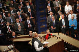India Prime Minister Narendra Modi addresses a joint meeting of Congress in the House Chamber on Capitol Hill in Washington, June 8, 2016.