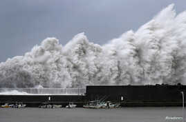 High waves triggered by Typhoon Jebi are seen at a fishing port in Aki, Kochi Prefecture, western Japan, in this photo taken by Kyodo, Sept. 4, 2018.