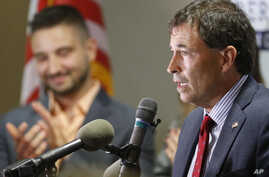 Troy Balderson, Republican candidate for Ohio's 12th Congressional District, speaks to a crowd of supporters during an election night party, Aug. 7, 2018, in Newark, Ohio.