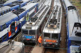 Transilien trains, the suburban railway service of French state-owned railway company SNCF, are parked at a SNCF depot station in Charenton-le-Pont near Paris, France, May 31, 2016 as railway workers will start a national railway strike on Tuesday ev