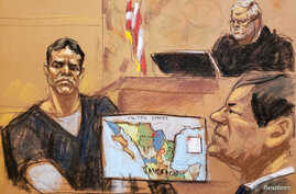 """Vicente Zambada takes the witness box at the trial of accused Mexican drug lord Joaquin """"El Chapo"""" Guzman, right, in this courtroom sketch in Brooklyn federal court in New York, Jan. 3, 2019."""