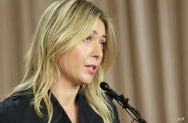 Tennis star Maria Sharapova speaks during a news conference in Los Angeles, March 7, 2016.