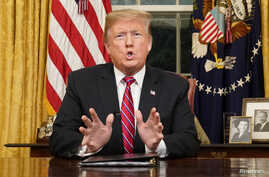 President Donald Trump delivers a televised address to the nation from his desk in the Oval Office about immigration and the southern U.S. border on the 18th day of a partial government shutdown at the White House in Washington, Jan. 8, 2019.
