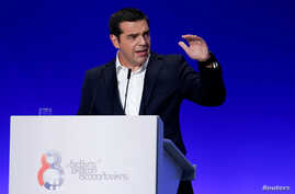 Greek Prime Minister Alexis Tsipras delivers a speech during the opening of the annual International Trade Fair of Thessaloniki, in Thessaloniki, Greece, Sept. 8, 2018.