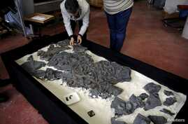 FILE - A fossil of a Ichthyosaur is seen at the Jurassic Museum of Asturia in Colunga, northern Spain, Nov. 6, 2015.