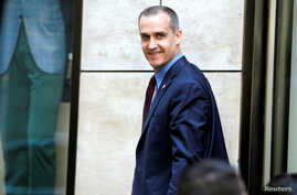 Corey Lewandowski, campaign manager for Republican U.S. presidential candidate Donald Trump, exits following a meeting of Trump's national finance team at the Four Seasons Hotel in New York City, June 9, 2016.